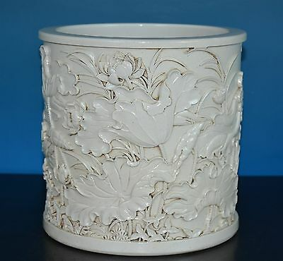 Delicate Antique Chinese Monochrome Porcelain Brush Pot Marked Wang Bingrong J96