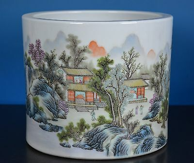 Magnificent Antique Chinese Famille Rose Porcelain Brush Pot Marked Qianlong A63