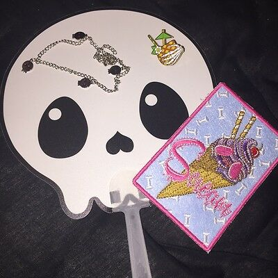 Spooky Box Club Summer Bundle Skull Fan, Skeleton Hand Pin, Anklet & Patch, Goth