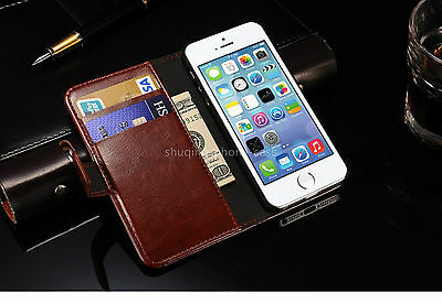 Classic Leather Stand Flip Front Back Cover Case Wallet Card for IPhone 5 5S