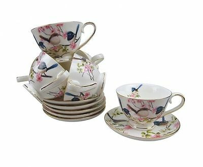 Fine Bone China Blue Wren 6 Cups & 6 Saucer Espresso Set