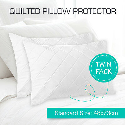 2 x  Aus Made Quilted Pillow Protectors Case Cotton Cover 48cm x 73cm