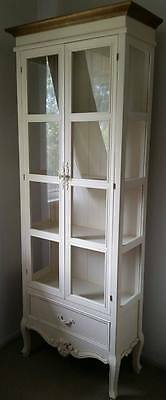 Beautiful hand-made French Provincial style antique white glass display cabinet
