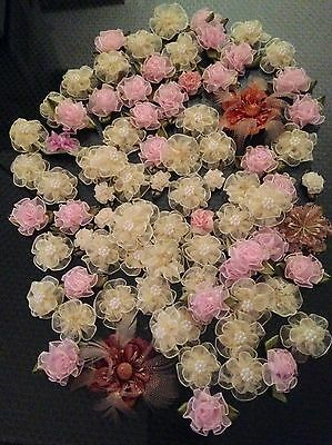 """LARGE LOT OF MOSTLY ORGANZA RIBBON FLOWERS ROSES IVORY PINK 1/2"""" to 1.5"""""""