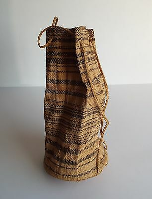 Unusual Vintage Finely Woven AfricanDrawstring Backpack Bag Delicate! Beautiful!
