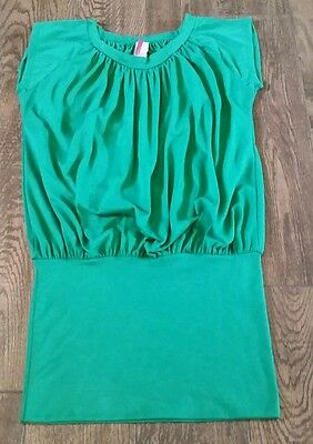 Cleo Casual Women's Green Cap Sleeve Long Knit Top Shirt Wide Band Size M