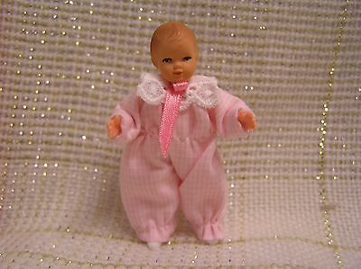 "Caco Dollhouse BABY GIRL DOLL  1:12 scale Miniature 2.25"" Pink"