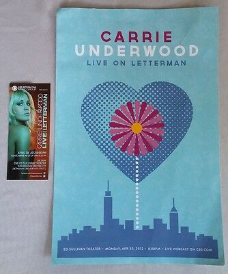 CARRIE UNDERWOOD Unused TICKET & Promo FLYER for 2012 DAVID LETTERMAN Appearance