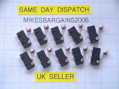 10 pack MICRO SWITCHES RED ROLLER LEVER ARM NORMALLY OPEN/CLOSE LIMIT SWITCH UK!