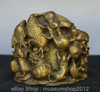 "4"" Chinese Feng Shui Brass Corn Zodiac Year Mouse Money Wealth Statue Sculpture"