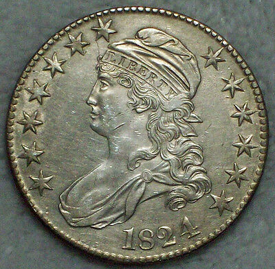 1824 over 4 1824/4 BUST Half Dollar *SILVER* O-109 Variety AU Detailing RARE 50C