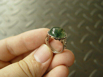 100% Natural Green Moss Agate Aquatic Weeds Agate Jade Cabochon Silver Ring 1239