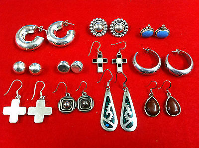 Vtg Sterling Silver 925 Earrings Mix/lot 11 Pairs #675 Some Mexico!!