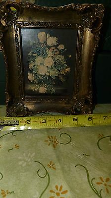 2 Piece set Vintage 4x5 TRUART PRODUCT floral pictures in square frames