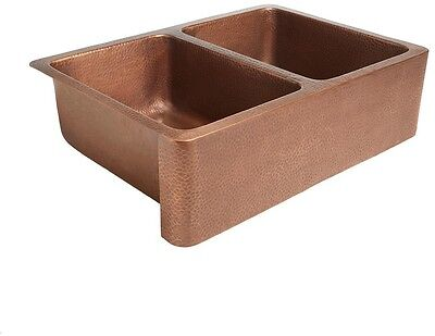 Copper Farmhouse Double Bowl Kitchen Sink Apron Front Handmade Pure Solid 33 in.