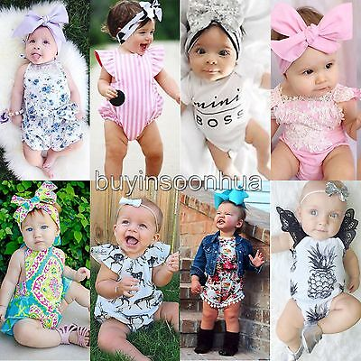 Newborn Infant Baby Girl Summer Bodysuit Romper Jumpsuit Outfits Sunsuit Clothes