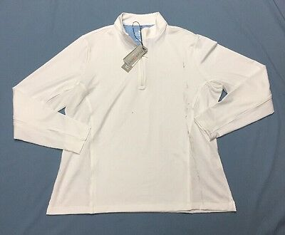 Peter Millar Wicking LS Golf Shirt Polo (XL, White, Solid, Polyester)(NWT) Blem