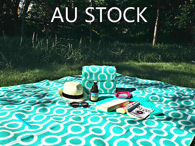 2X Large Portable 2x1.5m Picnic Blanket / Camping Mat with Waterproof Padding