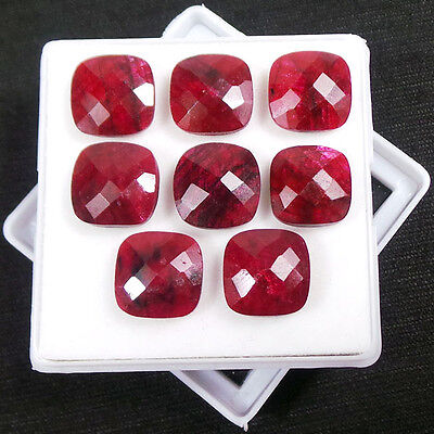 63+CT Natural African Top Red Rubies Cushion Checker Cut Calibrated 12x5mm Lot