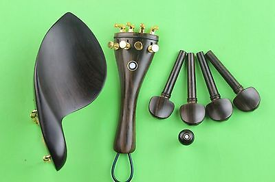 High quality undyed ebony violin parts 4/4, pegs, tailpiece, chinrest, endpin