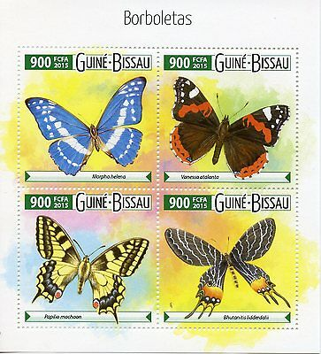 Guinea-Bissau 2015 MNH Butterflies 4v M/S Insects Red Admiral Borboletas Stamps
