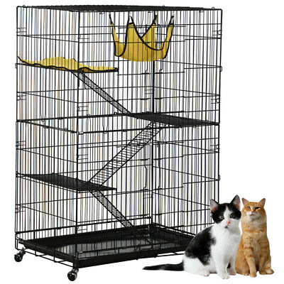 120CM 3-Level Collapsible Cat Parrot and Small Animal Cage with Wheels