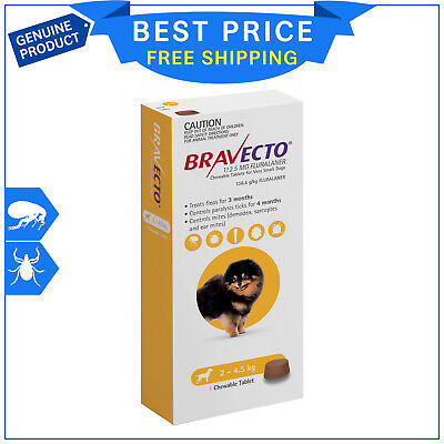 BRAVECTO For Dogs 2 to 4.5 kg Yellow Pack 1 Chew flea and tick treatment