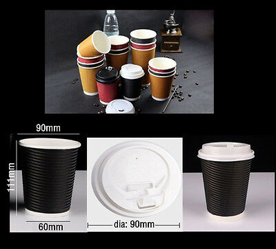 200XDisposable Paper Coffe Cups Double Wall Take Away Tea Cups&lids 12oz Black