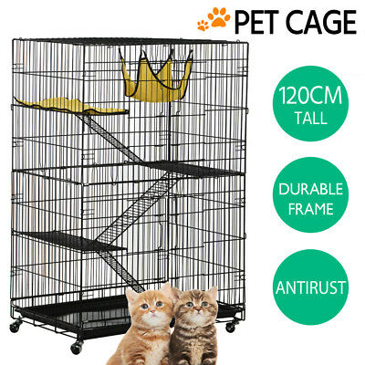 Folding Ferret Bird Cage 3 Level Cat Hamster Rat Budgie Pet Aviary with Wheels
