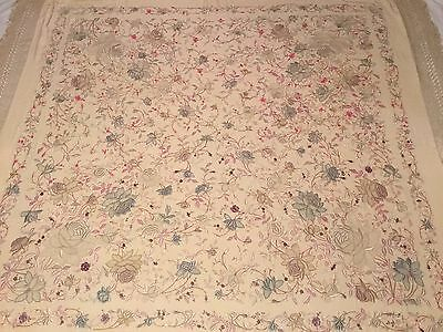 "BEAUTIFUL ANTIQUE CHINESE CANTON EMBROIDERED SILK SHAWL EMBROIDERY, 60"" x 60""!"
