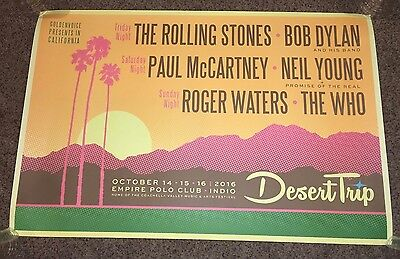 Official DESERT TRIP Poster 24x36 XL - Neil Young Paul McCartney Rolling Stones