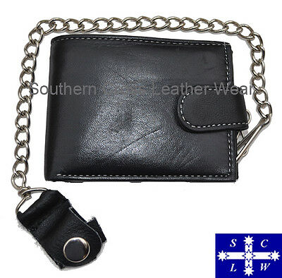 New Status Soft Cowhide Leather Wallet 9 Card Slots With Removable Chain