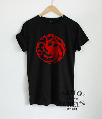 Targaryen T-Shirt Game of Thrones Shirts Sigil Dragons Red Print Mens Fans Tees