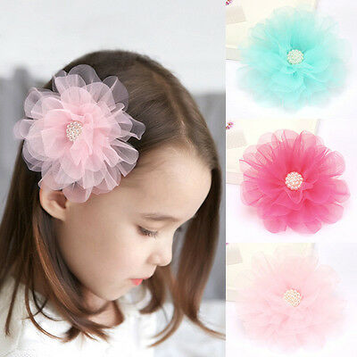 Fashion Baby Girl Flower Pearl Hair Clip Cute Hairpins Children Hair Accessories