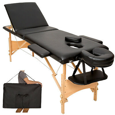 Lightweight portable massage table folding therapy beauty black 3zones + bag