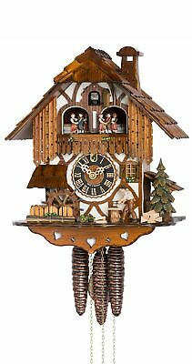 Cuckoo Clock Black Forest house with moving wood chopper and mill .. HO 678T NEW
