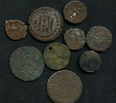9 Eastern Medieval Coins Copper/Bronze All Readable As Per Scans (C06)