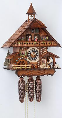 Cuckoo Clock Black Forest house with moving wood chopper and mil.. HO 86787T NEW