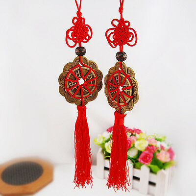 2pcs Fengshui Fortune Coin Tassel Hanging Peace Chinese Knot Auto Car Dekoration