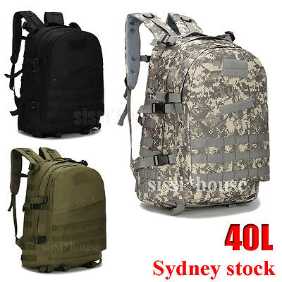 40L 3D Outdoor Tactical Army Military Rucksack Backpack Bag Sport Camping Hiking