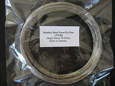 STAINLESS STEEL TRACE/TIE WIRE X 50 METRES - 90Kg x .75mm (TW20)