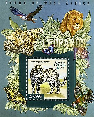 Sierra Leone 2015 MNH Leopards Fauna of West Africa 1v SS II Wild Animals Stamps