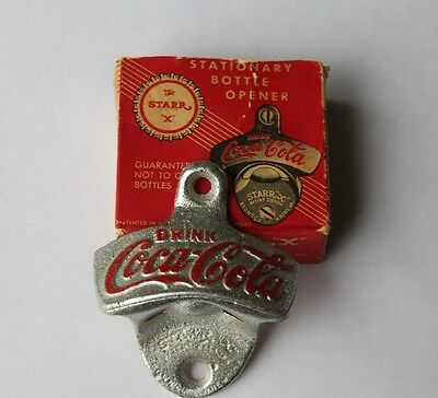 "Vtg 1943 COCA-COLA Wall Mount Bottle Opener STARR ""X"" Patent 2333088 w/ Box USA"