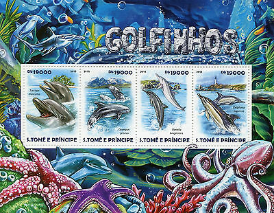 Sao Tome & Principe 2015 MNH Dolphins 4v M/S Marine Mammals Octopus Stamps