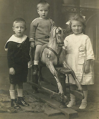 RPPC: Young Siblings with Antique ROCKING HORSE Beautiful Real Photo POSTCARD