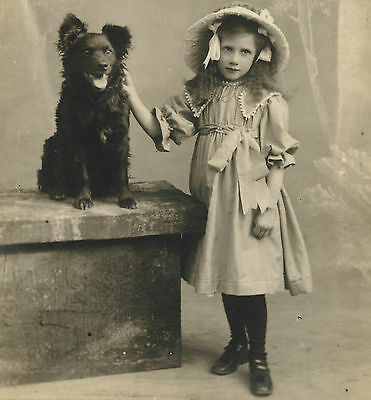 RPPC: Darling Portrait of a Young Girl + Beautiful PET DOG Leicester UK Postcard