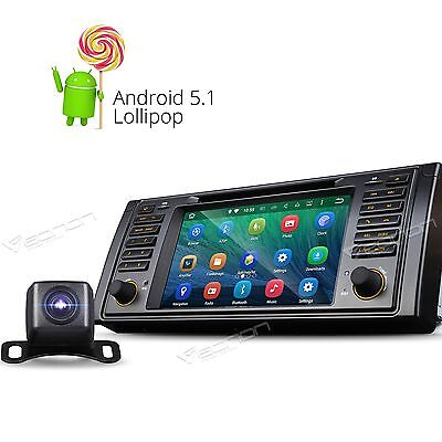 """Head Unit Camera 7"""" HD Android 5.1 Car DVD GPS Player For BMW E39 M5 1996-2003 G"""