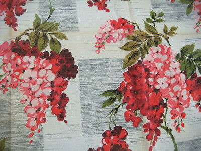 Original Vintage 1950's Length of Wisteria/Floral Print Material (Red)