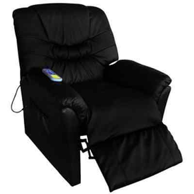Electric Artificial Faux Leather Massage Chair Black Relax Adjustable Footrest
