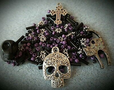 Gothic Jewellery Making, Halloween, Skull Jewellery Making Charms, Goth Mix